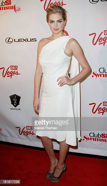 Model Kate Upton attends the Club S I Swimsuit event at I Oak Nightclub at The Mirage Hotel Casino on February 14 2013 in Las Vegas Nevada