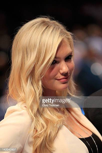 Model Kate Upton attends the game between the New York Knicks and the Orlando Magic at Madison Square Garden on March 28 2012 in New York City NOTE...