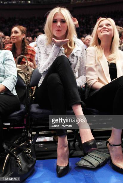 Model Kate Upton attends the game between the New York Knicks and the Los Angeles Clippers at Madison Square Garden on April 25 2012 in New York City...