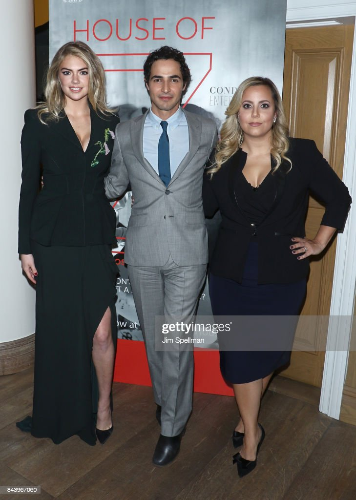 Model Kate Upton, designer Zac Posen and director Sandy Chronopoulos attend the premiere of 'House of Z' hosted by Brooks Brothers with The Cinema Society at Crosby Street Hotel on September 7, 2017 in New York City.