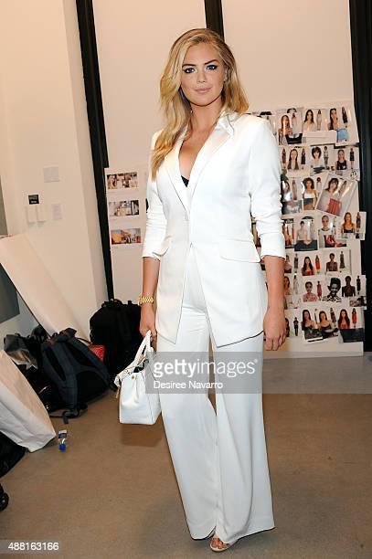 Model Kate Upton poses backstage during Diane Von Furstenberg Spring 2016 New York Fashion Week at Spring Studios on September 13 2015 in New York...