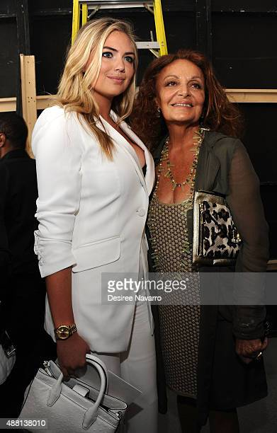 Model Kate Upton poses backstage with designer Diane Von Furstenberg during the Diane Von Furstenberg show at Spring 2016 New York Fashion Week at...