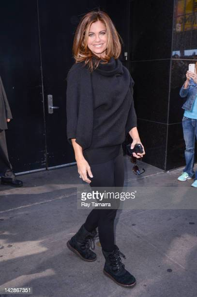"""Model Kathy Ireland leaves the """"Good Morning America"""" taping at the ABC Times Square Studios on April 13, 2012 in New York City."""