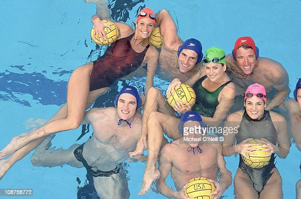 Model Kathy Ireland US Olympic swimmer Dara Torres Gowen and model Elle Macpherson with US Water Polo team at Canyonview Aquatics Center of UC San...