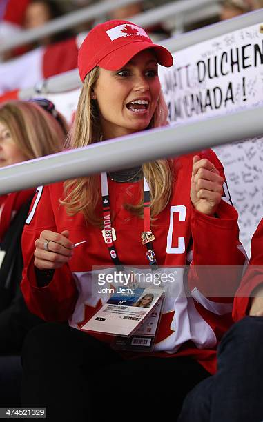 Model Kathy Leutner girlfriend of Sidney Crosby of Canada attends the Men's Ice Hockey Gold Medal match between Canada and Sweden on Day 16 of the...