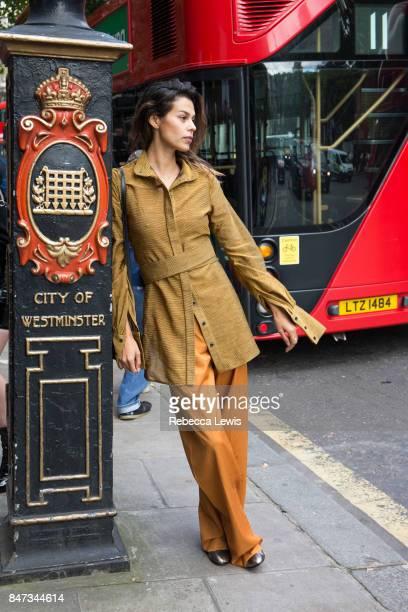 Model Katie Keight wears Teatum Jones day one of London Fashion Week September 2017 on September 15 2017 in London England