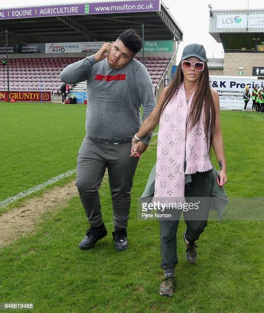 Model Katy Price and her son Harvey prior to a Celebrity Charity Match at Sixfields on April 15 2018 in Northampton England