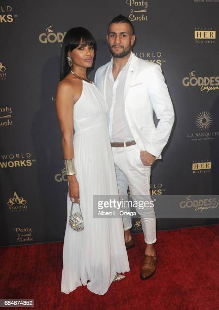 Model KD Aubert and UFC fighter Mehdi Badhad arrive for The World Networks Presents Launch Of The Goddess Empowered held at Brandview Ballroom on May...
