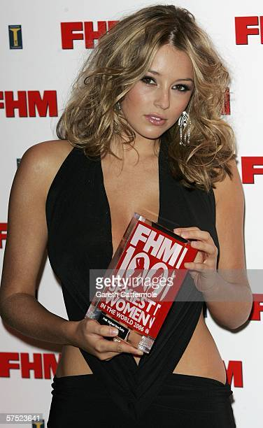 Model Keeley Hazell poses with the award for Highest New Entry at The FHM 100 Sexiest Women In The World Party 2006 at Madame Tussauds on May 03 2006...