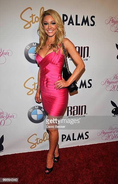 Model Kelly Carrington, 'Playboy' magazine's October 2008 Playmate of the Month, arrives at a party to introduce model Hope Dworaczyk as the...
