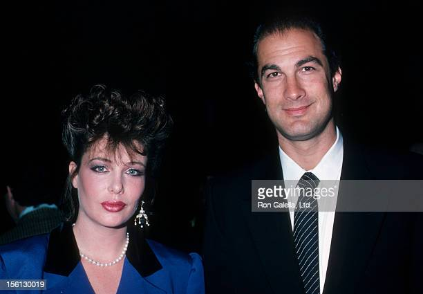 Model Kelly LeBrock and actor Steven Seagal attending 'Campari Campaign Event' on October 9 1986 at Cafe Seiyoken in New York City New York