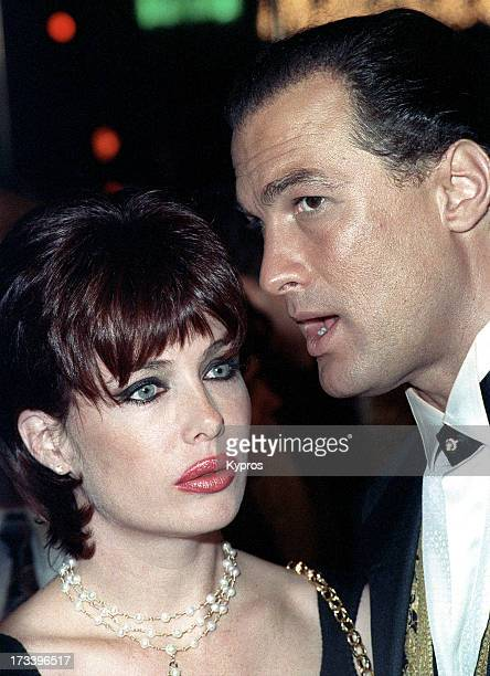 Model Kelly LeBrock and her husband, actor Steven Seagal attending the premiere of 'Under Siege' on October 8, 1992 at Mann Village Theater in...