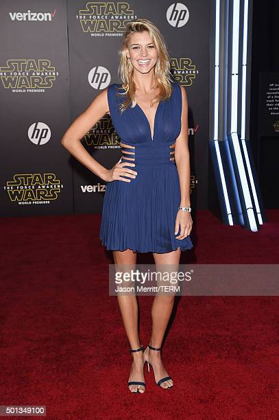 Model Kelly Rohrbach attends the premiere of Walt Disney Pictures and Lucasfilm's Star Wars The Force Awakens on December 14th 2015 in Hollywood...
