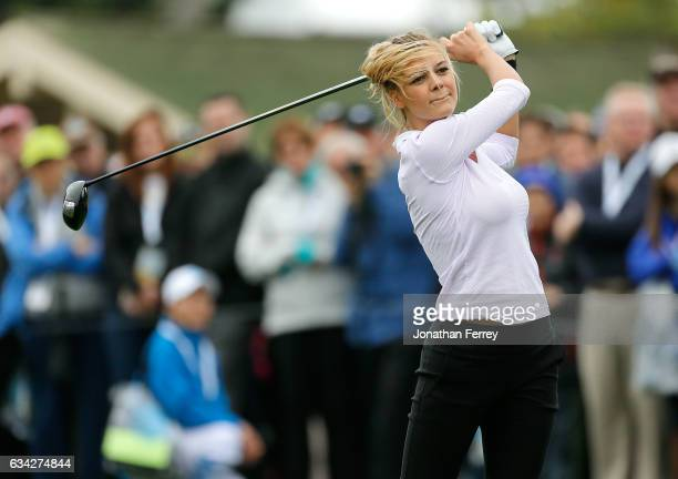 Model Kelly Rohrbach plays in the 3M Celebrity Challenge during a practice round for the ATT Pebble Beach ProAm at Pebble Beach Golf Links on...