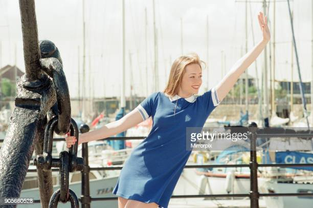 Model Kelly wearing Maritime inspired clothing at Liverpool Marina Merseyside 13th June 1996