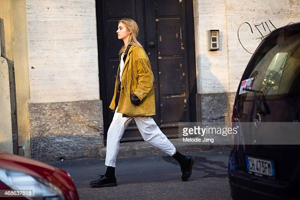 Model Kelsey Soles exits the Marco de Vincenzo show on Day 3 of Milan Fashion Week FW15 on February 27 2015 in Milan Italy