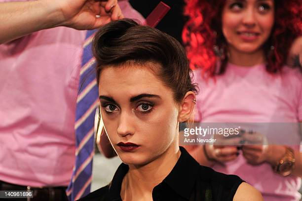 Model Kelsey Van Mook seen backstage at the Lela Rose fashion show during Fall 2012 Fashion Week on February 12 2012 at The Studio in Lincoln Center...