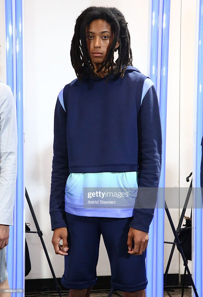 Model Kendall Harrison, age 17, from United States, poses at the Garciavelez Presentation during New York Fashion Week: Men's S/S 2016 at Industria Superstudio on July 13, 2015 in New York City.
