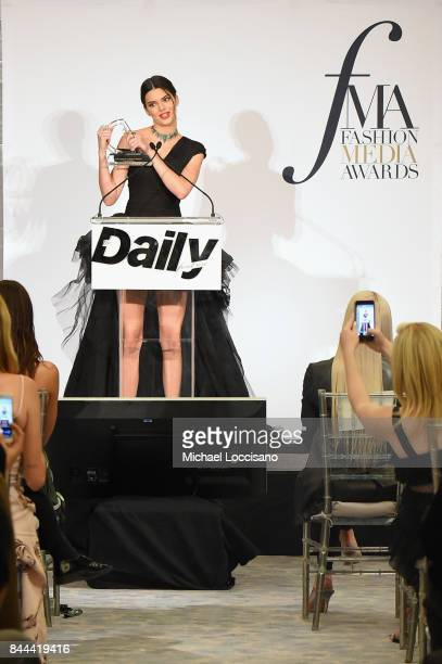 Model Kendall Jenner accepts the award for Fashion Icon of the Decade onstage during the Daily Front Row's Fashion Media Awards at Four Seasons Hotel...