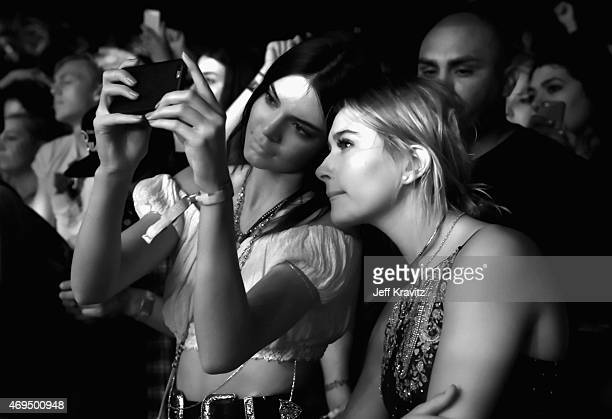 Model Kendall Jenner and Hailey Baldwin attend day 2 of the 2015 Coachella Valley Music Arts Festival at the Empire Polo Club on April 11 2015 in...