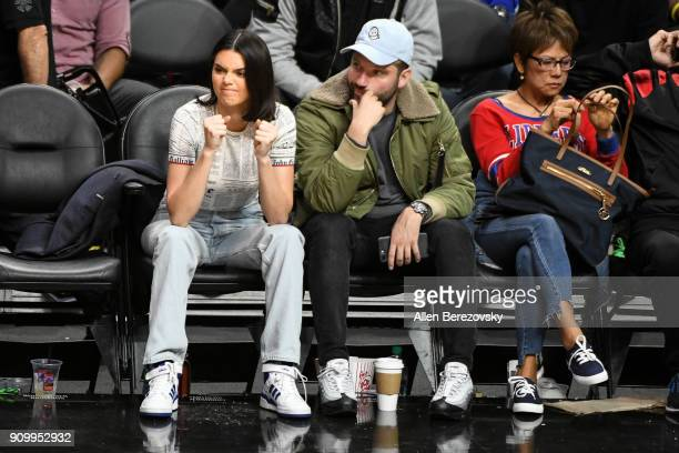 Model Kendall Jenner and producer Michael D Ratner attend a basketball game between the Los Angeles Clippers and the Boston Celtics at Staples Center...