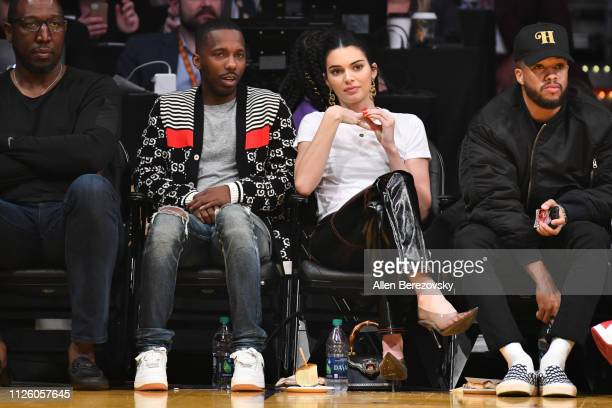 Model Kendall Jenner and sports agent Rich Paul attend a basketball game between the Los Angeles Lakers and the Philadelphia 76ers at Staples Center...