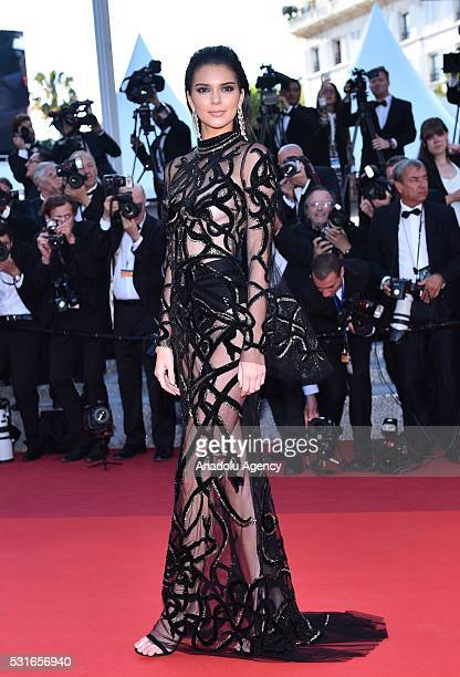 US model Kendall Jenner arrives for the screening of the film From The Land Of The Moon ' at the 69th annual Cannes Film Festival in Cannes on May 15...