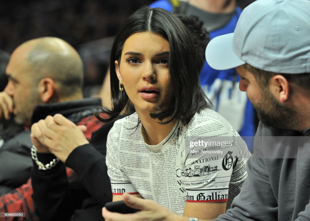 Model Kendall Jenner attends a basketball game between the Los Angeles Clippers and the Boston Celtics at Staples Center on January 24, 2018 in Los Angeles, California.