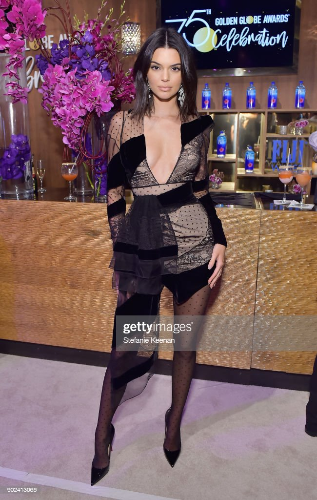 Model Kendall Jenner attends FIJI Water at HFPA's Official Viewing and After-Party at the Wilshire Garden inside The Beverly Hilton on January 7, 2018 in Beverly Hills, California.