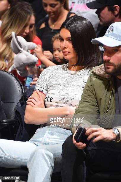 Model Kendall Jenner attends the game between the Boston Celtics and the LA Clippers on January 24 2018 at STAPLES Center in Los Angeles California...
