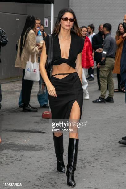 "Model Kendall Jenner attends the Jacquemus ""La Montagne"" show at La Cite Du Cinema on June 30, 2021 in Saint-Denis, France."