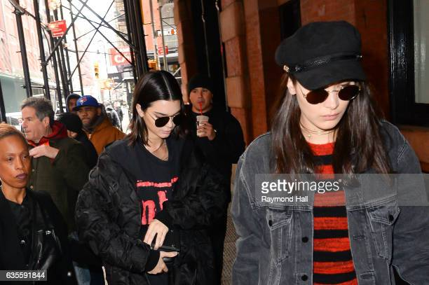 Model Kendall Jenner Bella Hadid are seen walking in Soho on February 15 2017 in New York City