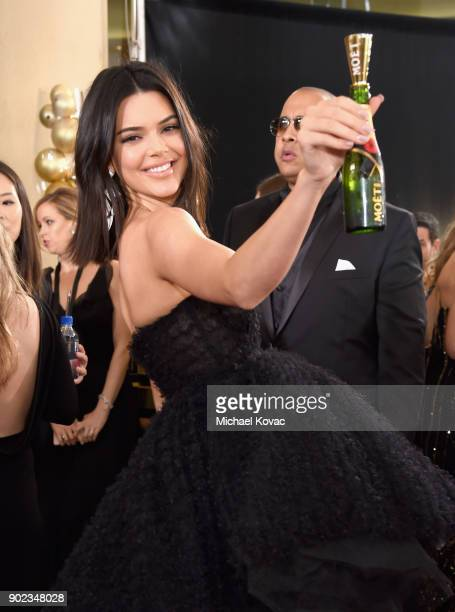 Model Kendall Jenner celebrates The 75th Annual Golden Globe Awards with Moet Chandon at The Beverly Hilton Hotel on January 7 2018 in Beverly Hills...