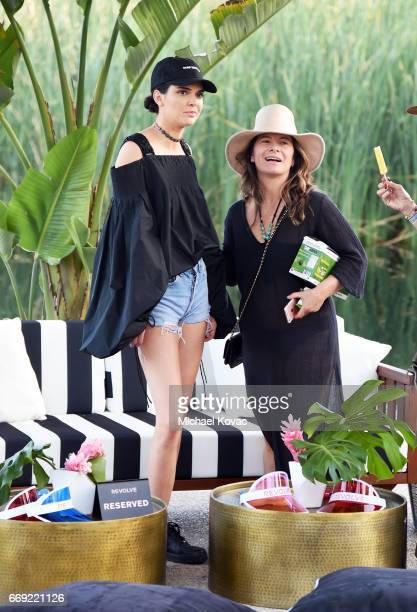 Model Kendall Jenner celebrates with #REVOLVEfestival at Coachella with Moet Chandon on April 16 2017 in La Quinta CA Merv Griffin Estate