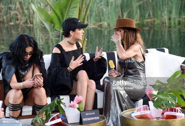 Model Kendall Jenner celebrates with #REVOLVEfestival at Coachella with Moet Chandon on April 16 2017 in La Quinta CA Merv Griffin Estate