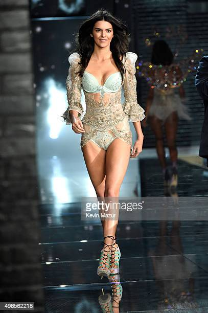 Model Kendall Jenner from California walks the runway during the 2015 Victoria's Secret Fashion Show at Lexington Armory on November 10 2015 in New...
