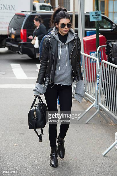 Model Kendall Jenner is seen arriving at rehearsals for the 2015 Victoria's Secret Fashion Show at the Lexington Avenue Armory on November 9 2015 in...