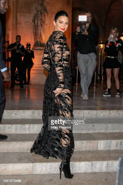 Model Kendall Jenner is seen arriving at the Longchamp 70th Anniversary Celebration at Opera Garnier on September 11 2018 in Paris France