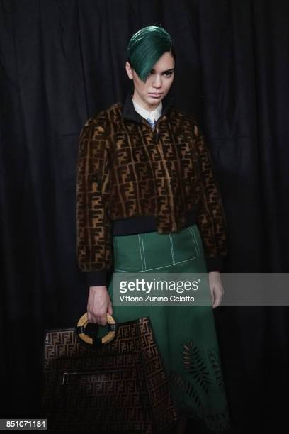 Model Kendall Jenner is seen backstage ahead of the Fendi show during Milan Fashion Week Spring/Summer 2018on September 21 2017 in Milan Italy