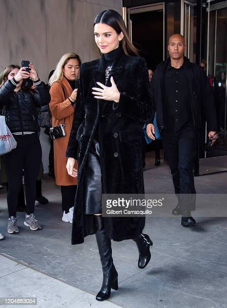 Model Kendall Jenner is seen leaving the Longchamp Fall/Winter 2020 Runway Show at Hudson Commons on February 08, 2020 in New York City.