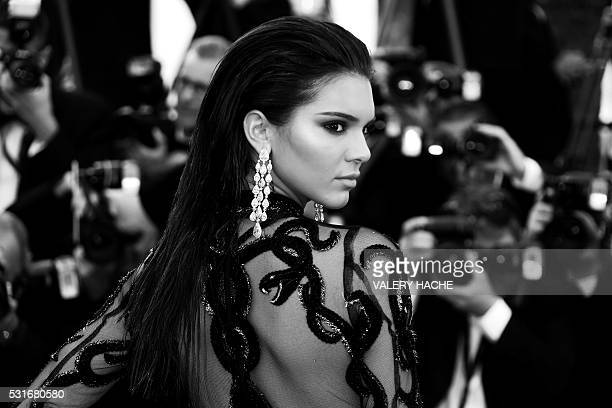 US model Kendall Jenner poses as she arrives on May 15 2016 for the screening of the film 'Mal de Pierres ' at the 69th Cannes Film Festival in...