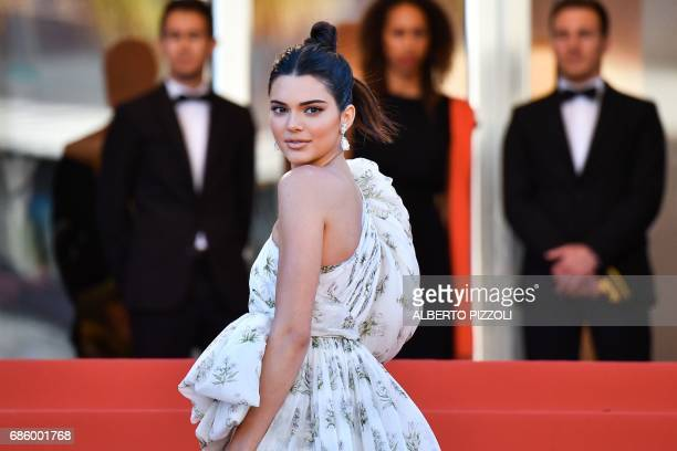 US model Kendall Jenner poses as she arrives on May 20 2017 for the screening of the film '120 Beats Per Minute ' at the 70th edition of the Cannes...