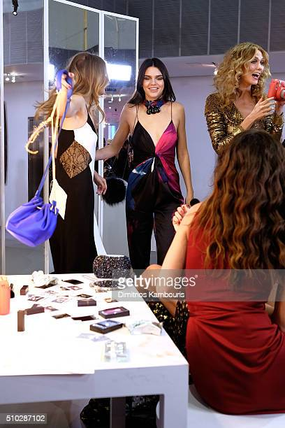 Model Kendall Jenner poses wearing Diane Von Furstenberg Fall 2016 during New York Fashion Week on February 14 2016 in New York City