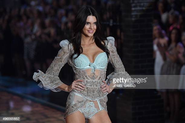 Model Kendall Jenner presents a creation during the 2015 Victoria's Secret Fashion Show in New York on November 10 2015 AFP PHOTO/JEWEL SAMAD