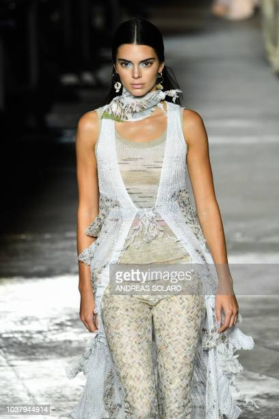 Model Kendall Jenner presents a creation during the Missoni fashion show as part of the Women's Spring/Summer 2019 fashion week in Milan on September...