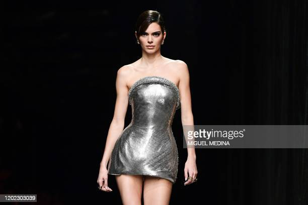 Model Kendall Jenner presents a creation for Versace' Women Fall - Winter 2020 fashion collection on February 21, 2020 in Milan.