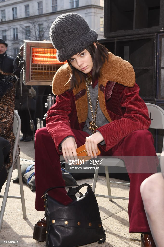 Model Kendall Jenner sits at the runway for the Marc Jacobs Fall 2017 Show at Park Avenue Armory on February 16, 2017 in New York City.