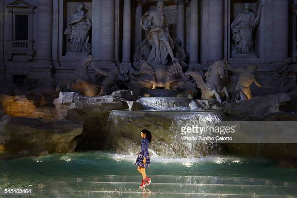 Model Kendall Jenner walks the runway at Fendi Roma 90 Years Anniversary fashion show at Fontana di Trevi on July 7 2016 in Rome Italy