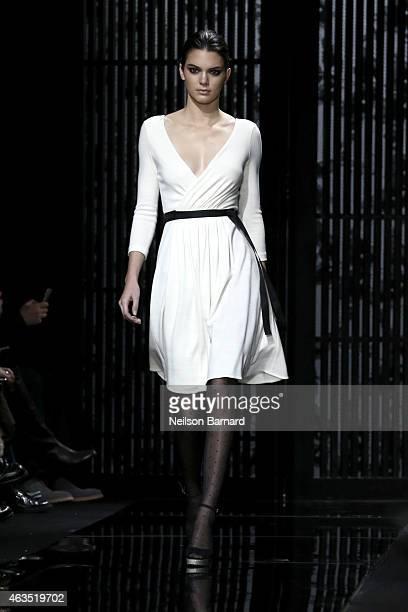 Model Kendall Jenner walks the runway at the Diane Von Furstenberg fashion show during MercedesBenz Fashion Week Fall 2015 at Spring Studios on...