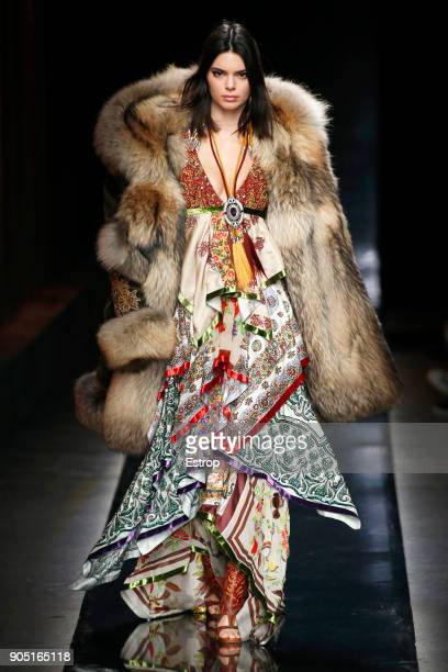 Model Kendall Jenner walks the runway at the Dsquared2 show during Milan Men's Fashion Week Fall/Winter 2018/19 on January 14 2018 in Milan Italy